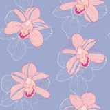 Tender pattern with pink orchids. Vector seamless pattern with pink orchids, tender tropical background, floral seamless wallpaper in trendy colors Stock Photos