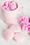 Tender pink macaroons on white wood background Stock Photos
