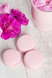 Tender pink macaroons on white wood background Royalty Free Stock Images