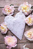 Tender pink peonies flowers  and decorative heart on  vintage  w Stock Photo