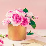 Tender pink tea roses bouquet in vintage pot, blank of greeting card and craft paper envelope on pink background. Postcard mock up. Summer, spring flowers royalty free stock images
