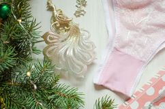 Tender pink underwear on the white background. Christmas women& x27;s Royalty Free Stock Images