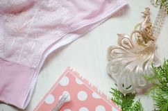 Tender pink underwear on the white background. Christmas women& x27;s Stock Image