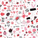 Tender pink valentine seamless pattern background with hearts and lettering. Cute doodle girlish backdrop for fashion. Clothes, wrapping paper, site background royalty free illustration