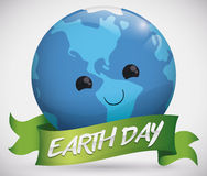 Tender Planet Face with a Ribbon for Earth Day, Vector Illustration Royalty Free Stock Image