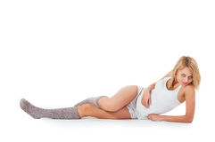 Tender posing woman in lingerie and wool socks Stock Photos