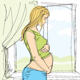 Tender pregnant female. Vector pregnant female with tummy, waiting for new life Royalty Free Stock Photos