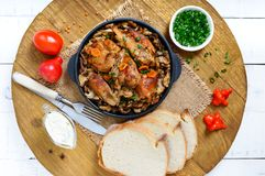 Tender rabbit meat with forest mushrooms. A dietary dish. Stock Images