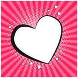 Tender retro comic speech bubble in shape of heart. Blank pop art outline balloon with floral halftone shadow and pink stripes for comics book, st. valentines Royalty Free Stock Image