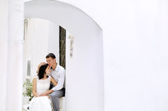Tender romantic couple bride and groom in Italy Stock Image