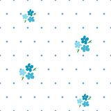 Tender seamless pattern with forget-me-nots and blue dots Stock Images