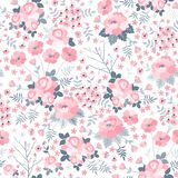 Tender seamless pattern with pink flowers on white background. Ditsy floral illustration. Print for fabric, wrapping paper, wallpaper, bedding in vector vector illustration