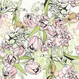 Tender seamless pattern with tulips and narcissus. Pastel colors Stock Photo