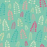 Tender seamless pattern with twigs and berries. Endless background. Vector backdrop. Pastel pattern. Stock Photography
