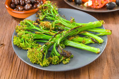 Tender shoots of broccoli grilled Royalty Free Stock Photos