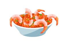 Tender shrimps in a bowl with caviar, greens and salad. Festive seafood dishes food cooked, modern delicacies with a beautiful presentation on the plate royalty free illustration