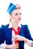 Tender sincere stewardess Stock Photography