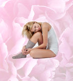 Tender sitting woman in lingerie and wool socks Royalty Free Stock Photo