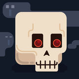 Tender Skull in Flat Style with Ghosts Around it, Vector Illustration Royalty Free Stock Images