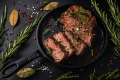 Tender sliced sous-vide beef steak from in a cast iron pan