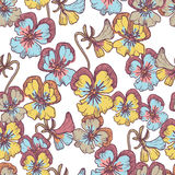 Tender small  pansy flowers seamless pattern Stock Images