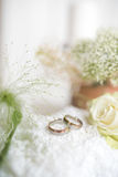 Tender still life with wedding rings Stock Images