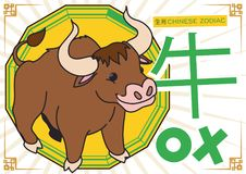 Cute Ox in Cartoon Style for Chinese Zodiac, Vector Illustration. Tender, strong and valiant ox -written in Chinese calligraphy- for Chinese Zodiac over a stock illustration