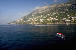 Tender taking people from cruise ship to Amalfi, a town in the province of Salerno, in the region of Campania, Italy, on the Gulf  Stock Photos