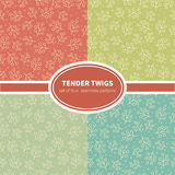 Tender twigs  seamless patterns collection Royalty Free Stock Image