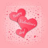 Tender Valentine`s day card with pink hearts stock illustration