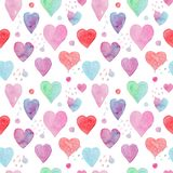 Tender watercolor pattern with hearts and arrows stock illustration