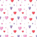 Tender watercolor pattern with hearts and arrows royalty free illustration