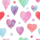 Tender watercolor pattern with hearts and dots stock illustration