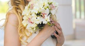 Tender wedding bouquet closeup Stock Images