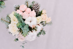 Tender wedding bouquet of roses, cone and cotton, closeup Stock Images