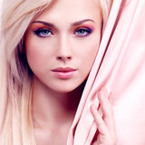 Tender Woman With Pink Silk. Stock Photo