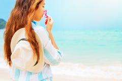 Tender Young Woman Smells Tropical Flower Frangipani Stock Photos