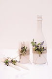 Tenderless en la imagen hermosa del champán y de las velas Fotografía de archivo libre de regalías