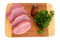 Tenderloin meat on cutting board Stock Photo