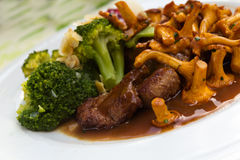 Tenderloin of Roe Deer Back with Chanterelle Royalty Free Stock Image