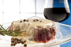 Tenderloin with roquefort sauce Stock Photography
