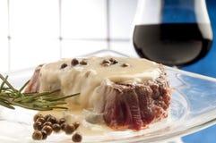 Tenderloin with roquefort sauce Stock Photography