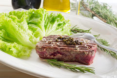 Tenderloin with salad Royalty Free Stock Images