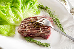 Tenderloin with salad Royalty Free Stock Photography