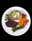 Tenderloin Steak 008. A mouth watering tenderloin steak with fresh vegetables and shrimp Stock Photos