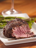Tenderloin steak cut open cooked rare Royalty Free Stock Images