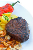 Tenderloin steak mignon-grilled with vegetables Royalty Free Stock Image