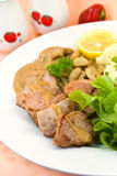 Tenderloin steak with mushroom creme sauce Stock Images