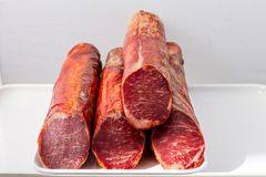 Tenderloin on a tray and cut stock photography