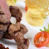 Tenderloin of veal with a sauce figs Stock Images